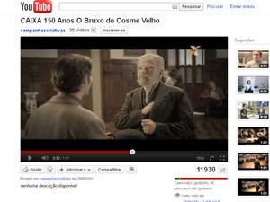 Ator no papel de Machado de Assis em comercial de 150 anos exibido pela Caixa Econômica Federal. (Foto: Reprodução)
