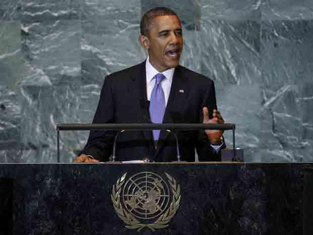 O presidente dos EUA, Barack Obama, discursa nesta quarta-feira (21) na Assembleia Geral da ONU (Foto: AP)