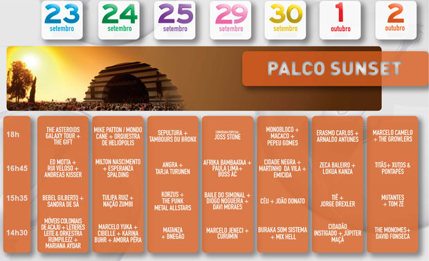 Programação Palco Sunset Rock in Rio (Foto: Divulgação)