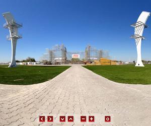 Veja em 360º diferentes fases da construção da Cidade do Rock (Arte G1)