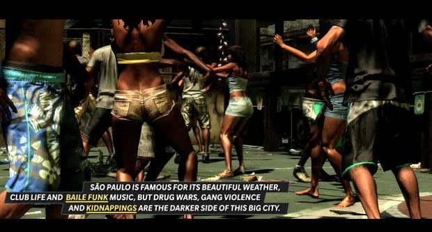Cena de trailer com informações de 'Max Payne 3' diz que São Paulo é conhecida pelo clima bom, pelas baladas noturnas e pelos bailes funk (Foto: Divulgação)