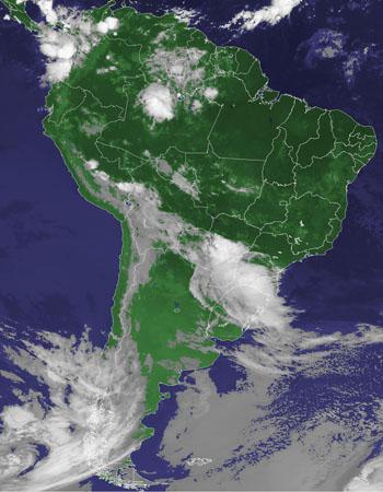 Nuvens em parte da região Sul nesta sexta (16) (Foto: Reprodução/Cptec/Inpe)