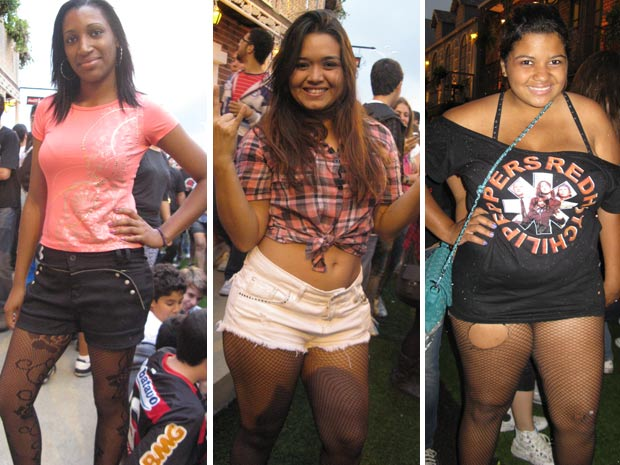 Meninas escolheram meia arrastão para a segunda noite do Rock in Rio (Foto: Tássia Thum/G1)
