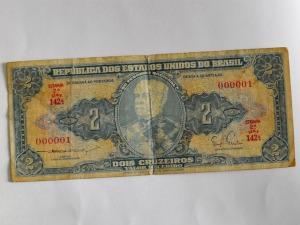 Cédula de dois Cruzeiros, série 000001 (Foto: Hélder Rafael/G1 MS)
