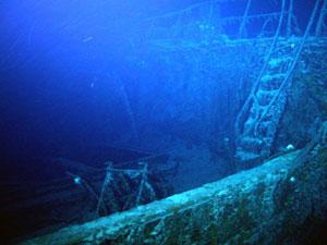 Deque da embarcação, afundada em 1941 (Foto: AFP/Odyssey Marine Exploration)