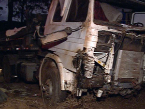 Segundo testemunhas pneu de carreta estourou, e motorista perdeu controle da direção (Foto: Reprodução TV Globo)