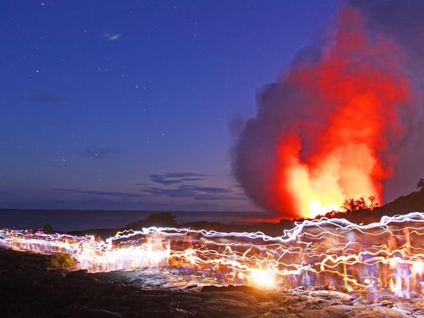 Vulcão Kilauea, no Havaí, foi fotografado por casal. (Foto: ©Steve and Donna O'Meara / VolcanoHeaven.tumblr.com)
