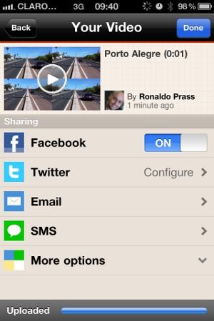 Escolhendo as redes em que o vídeo será compartilhado  (Foto: Reprodução)