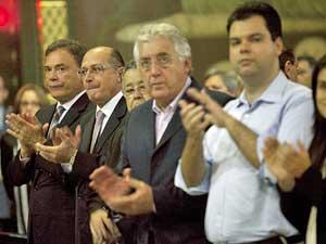 Bruno Covas (à direita), ao lado do senador Álvaro Dias, do governador Geraldo Alckmin e do vice- governador Guilherme Afif Domingos.  (Foto: Leonardo Soares / Agência Estado / AE)
