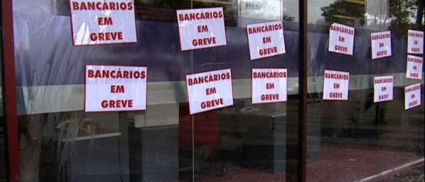 Greve dos bancários no Espírito Santo (Foto: Reprodução/TV Gazeta)