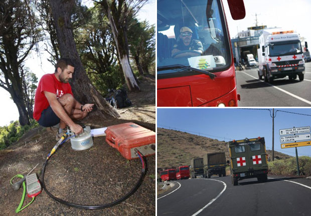Sismólogo do Instituto Geográfico das Ilhas Canárias registra tremores nesta quarta (28). À direita, Ônibus e caminhões removem moradores de área em risco (Foto: AFP)