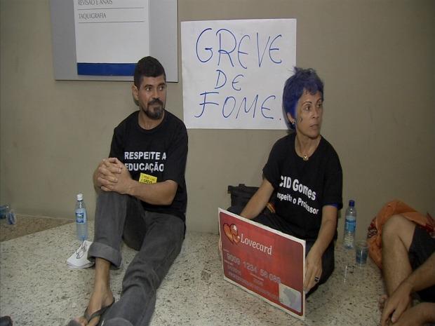 Professores prometem greve de fome até que a greve dos professores se encerre. (Foto: TV Verdes Mares/Reprodução)