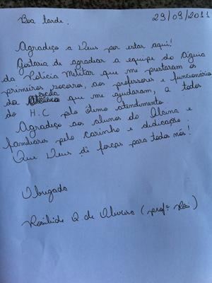 carta professora (Foto: Kleber Tomaz/G1)