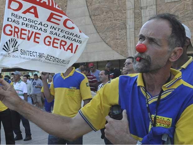 Grevistas dos Correios fazem novo protesto em Brasília nesta quinta-feira (Foto: Agência Brasil)