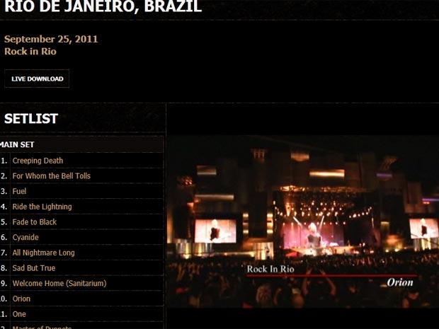 Página oficial do Metallica traz vídeo sobre show da banda no Rio (Foto: Reprodução)