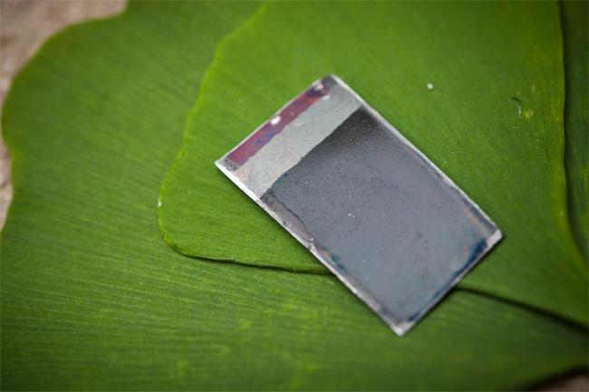 'Folha' artificial separa hidrogênio e oxigênio dá água usando energia solar. (Foto: Dominick Reuter/Divulgação)