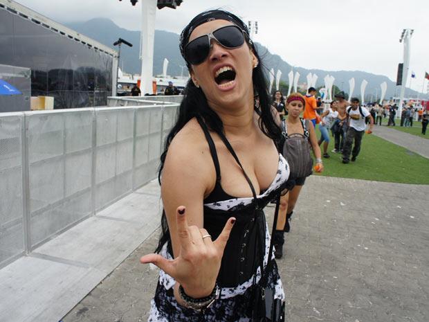 Flavia Kahyna, 29 anos, veio de Sergipe para ver Axl Rose no Rock in Rio, na última noite do festival (Foto: Glauco Araújo/G1)