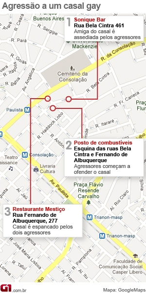 Mapa agressão a gays Avenida Paulista (Foto: Arte/G1)