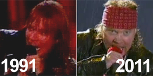 Veja Guns N&#39;Roses tocando &#39;You could be mine&#39; em 1991 e em 2011 (Reproduo)