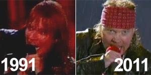 Veja Guns N'Roses tocando 'You could be mine' em 1991 e em 2011 (Reprodução)