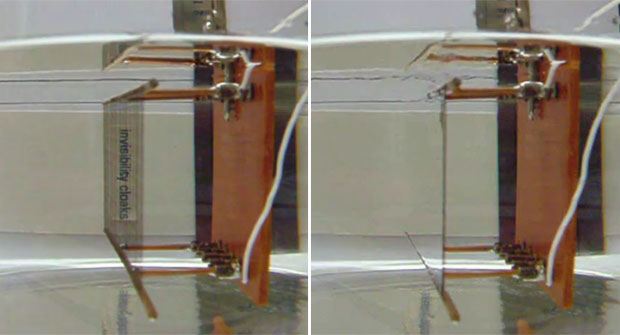 Cientistas da Universidade de Dallas demonstram 'capa da invisibilidade' (Foto: Reprodução)