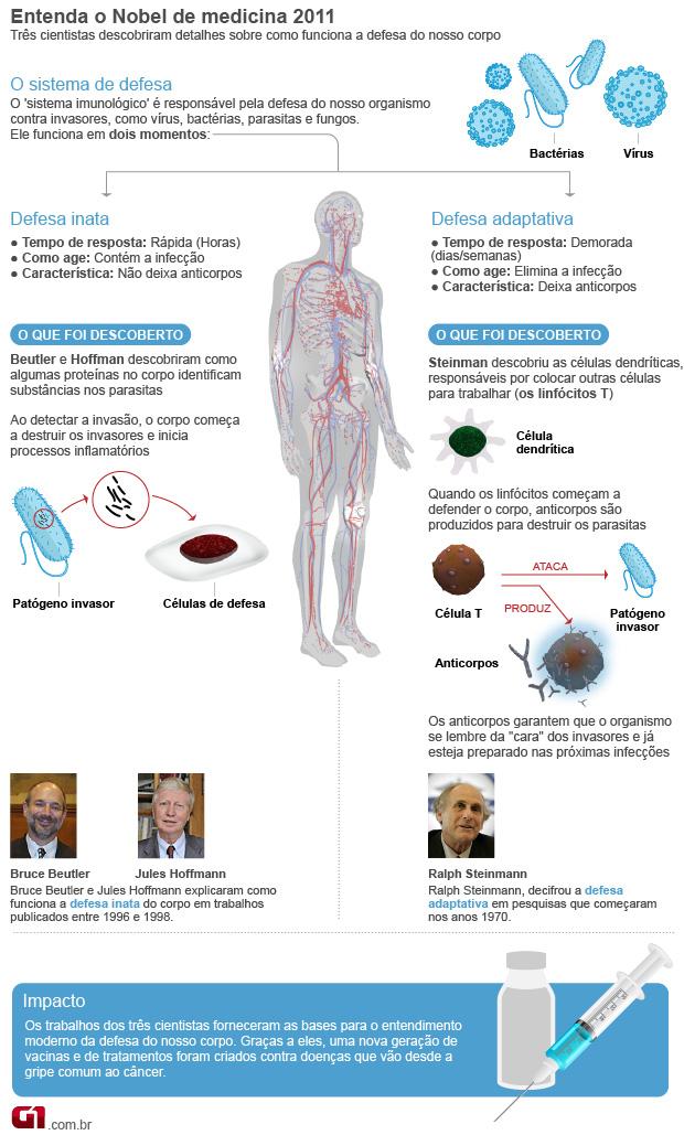 Info Nobel Medicina 2011 (Foto: Arte / G1)