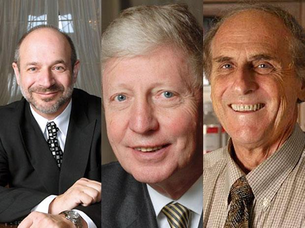 Os ganhadores do Nobel de Medicina 2011: o americano Bruce Beutler, o francês Jules Hoffmann e o canadense Ralph Steinman (Foto: Divulgação/Nobel)