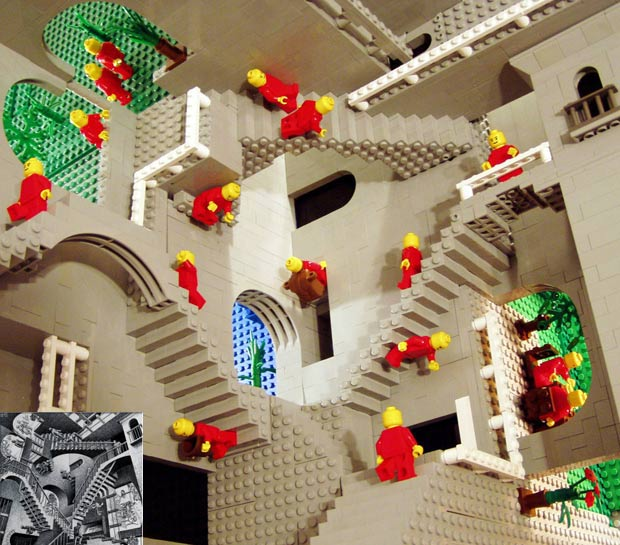 Com peças de lego, o matemático britânico Andrew Lipson recriou a Relatividade de Escher. No detalhe, obra do artista holandês. (Foto: Andrew Lipson/Barcroft Media/Getty Images) (Foto: Andrew Lipson/Barcroft Media/Getty Images)