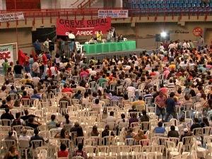 Professores querem manter greve após assembleia nesta terça-feira (4) (Foto: TV Verdes Mares/ Reprodução)