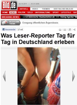 Torcedor enviou fotos para jornal. À direita, se vê o que aparenta ser um cachecol do Bayern de Munique (Foto: Reprodução/Bild)
