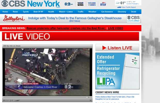 Imagem da TV local mostra os trabalhos de resgate (Foto: Reprodução de vídeo)