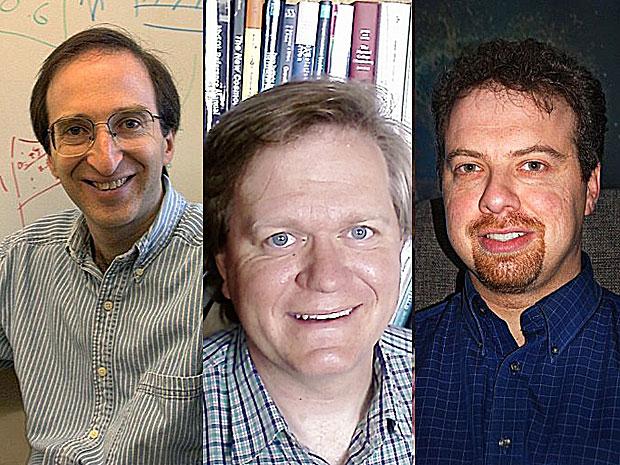 Os ganhadores do Nobel de Física 2011: Saul Permutter, Adam Riess e Brian Schmidt (Foto: Permutter e Riess: AP; Schmidt: Divulgação)