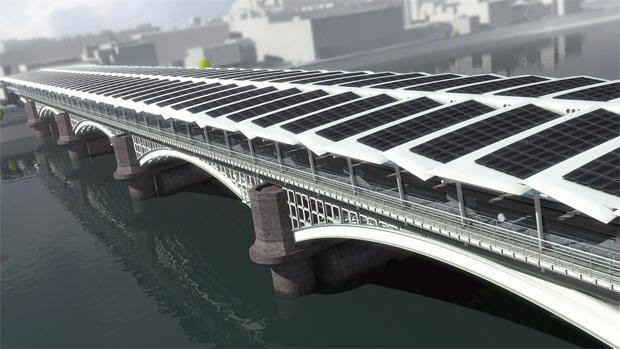 Modelo mostra como será a ponte quando a instalação dos paineis solares estiver concluída. (Foto: solarcentury.co.uk / Divulgação)