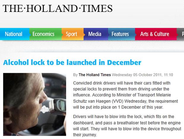 Site de notícias holandês mostra imagem de aparelho que trava ou destrava o motor, que se assemelha a um bafômetro ligado ao painel (Foto: Reprodução/The Holland Times)