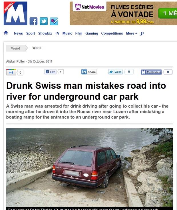 Peter Thaler confundiu acesso ao rio com rampa de estacionamento. (Foto: Reprodução/Metro)