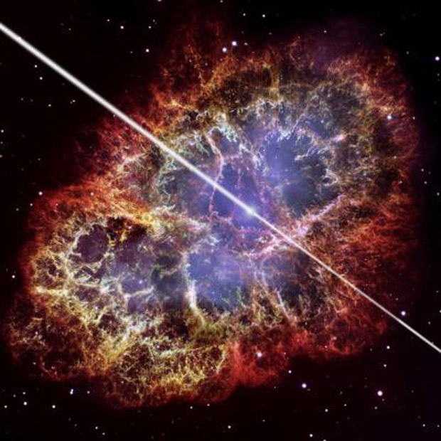 Ilustração de como seria pulsar feita sobre uma foto da Nebulosa do Caranguejo, tirada pelo telescópio Hubble (Foto: David A. Aguilar (CfA) / Nasa / ESA)