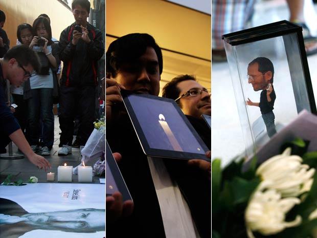 Consumidores fazem homenagens para Stevie Jobs em Hong Kong, no Japão e nos EUA (Foto: AP)