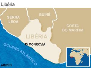 mapa libéria (Foto: Arte G1)