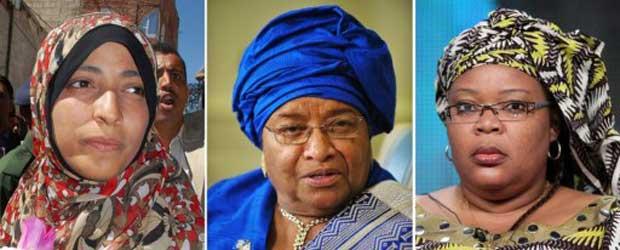 A iemenita Tawakkul Karman e as liberianas Ellen Johnson Sirleaf e Leymah Gbowee, laureadas com o Nobel da Paz de 2011 nesta sexta-feira (7) (Foto: Reuters)