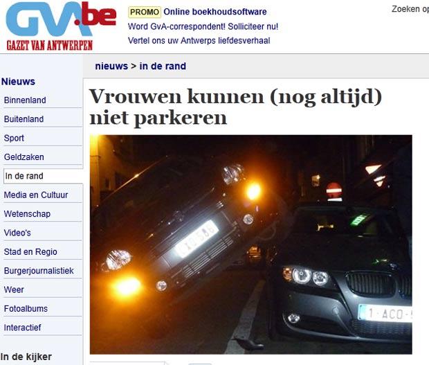 Motorista estacionou carro sobre outro veículo. (Foto: Reprodução/GVA)