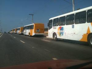 Ônibus da nova frota de Manaus (Foto: Andrezza Lifsitch/G1)