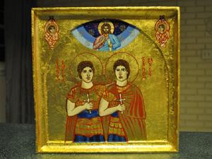 Oratório com imagem dos santos São Sérgio e São Baco (Foto: Luiz Coelho)