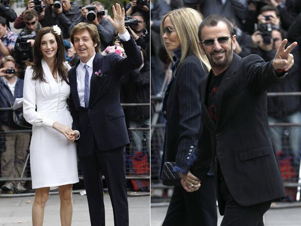 Ringo Starr também compareceu à cerimônia de casamento de Paul McCartney, neste domingo (Foto: Reuters)