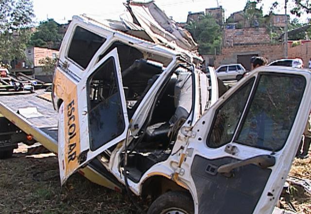 Motorista da van perdeu o controle da direção e bateu contra uma árvore, segundo a polícia  (Foto: Reprodução/TV Globo)