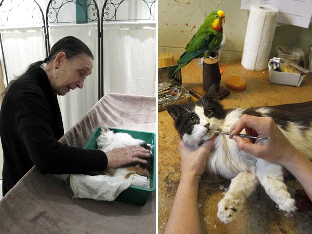 Dona de despede após a morte de sua gata em um crematório na cidade de Boom, em foto de 30 de setembro (Foto: Yves Herman/Reuters)