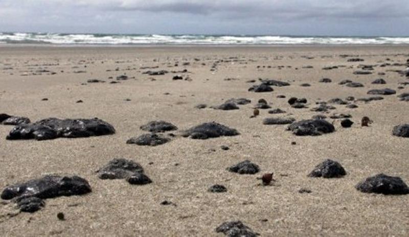 Manchas de óleio em praia neozeolandesa. Autoridades do país afirmam que já houve vazamento de 10 toneladas de petróleo do cargueiro de bandeira liberiana (Foto: AFP)
