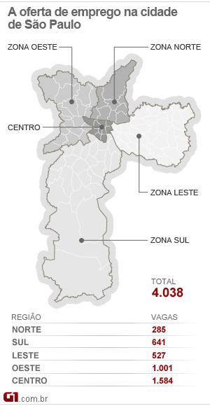 Mapa do emprego da cidade de São Paulo - 13/10/11 (Foto: Editoria de Arte/G1)