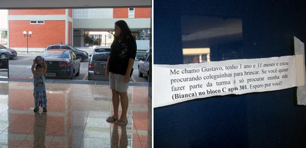 Bianca brinca com Gustavo no térreo de seu prédio, e o anúncio usado para buscar amigos para o menino (Foto: G1)