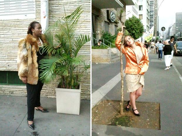 Grupo realiza pesquisa para analisar reação das pessoas com 'manequins' parados na calçada (Foto: Glauco Araújo/G1)