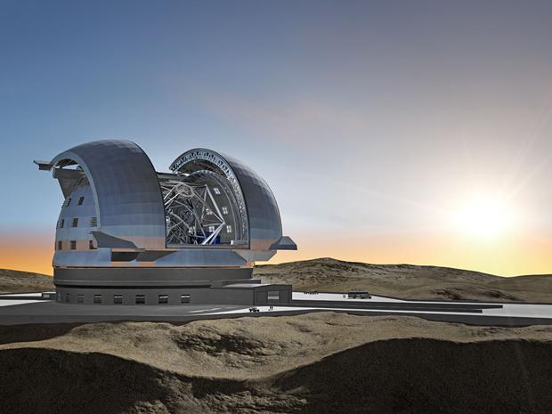 Imagem mostra como será o E-ELT, candidato a maior telescópio do mundo em ondas vísiveis e infravermelhas. (Foto: ESO)